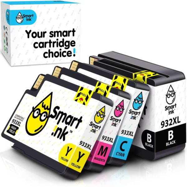 932XL, 933XL. Smart Ink Cartridge Replacement for HP 932 XL, 933 XL (4 pack), Compatible