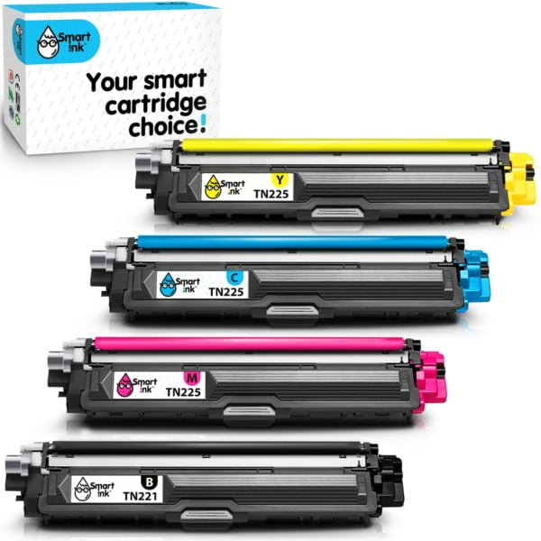 Smart Ink Toner Replacement for Brother TN 221 TN 225 (4 Combo Pack)