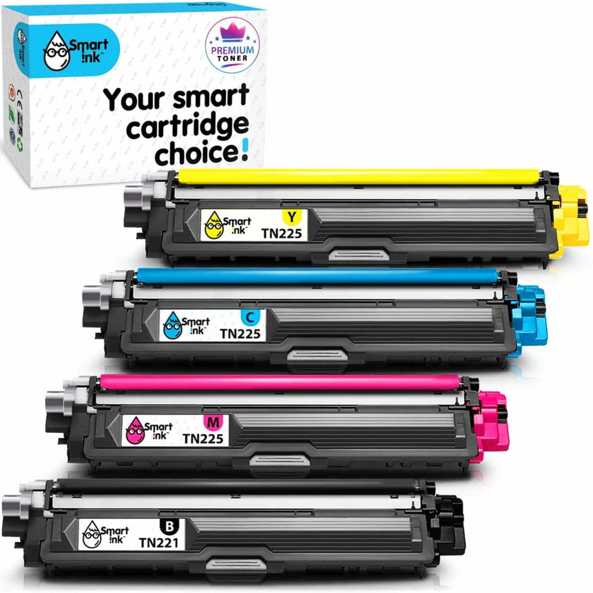TN221, TN225. Smart Ink Toner Cartridge Replacement for Brother TN 221, TN 225 (4 pack), Compatible