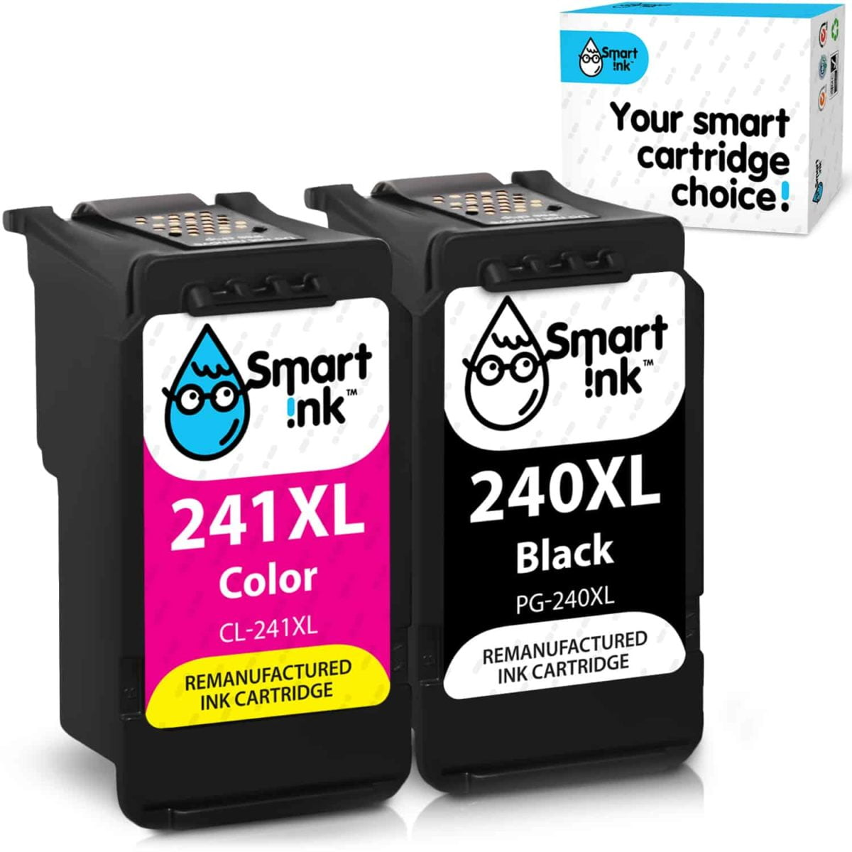 240XL, 241XL. Smart Ink Cartridge Replacement for Canon 240 XL, 241 XL (2 pack), Remanufactured