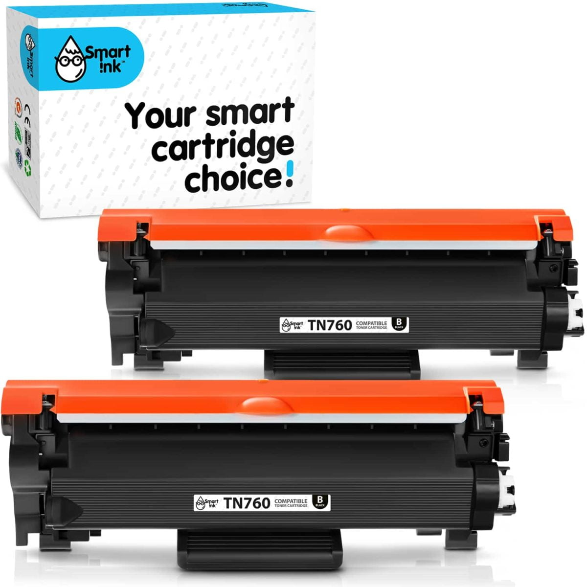 TN760, TN730. Smart Ink Toner Cartridge Replacement for Brother TN 760 TN 730(2 pack), Compatible
