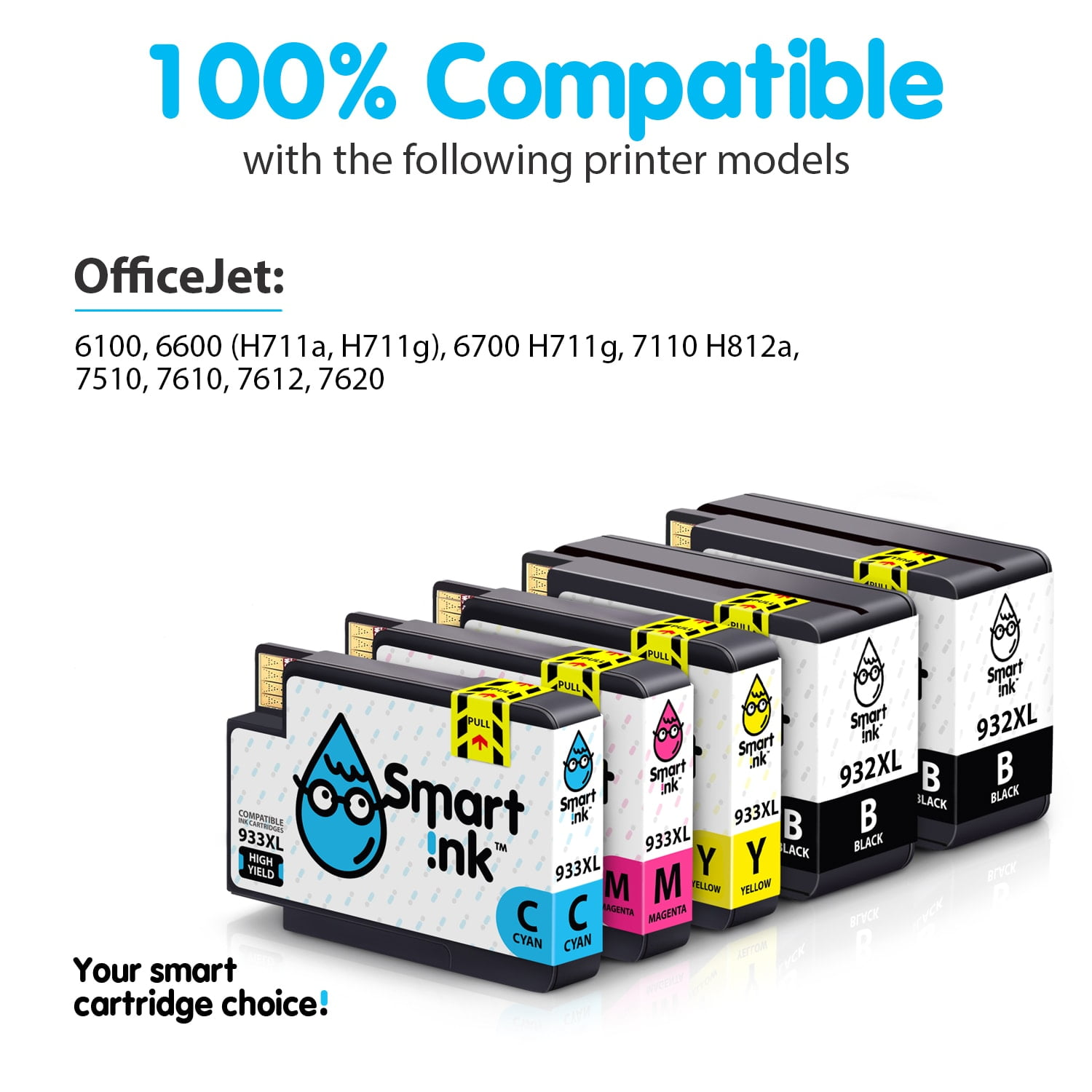 Cyan, Magenta, Yellow ePrinter 7610 7612 Printers Smart Print Supplies Compatible 933XL 933 XL High Yield Ink Cartridge Replacement for HP OfficeJet 6100 7110 - 6 Pack
