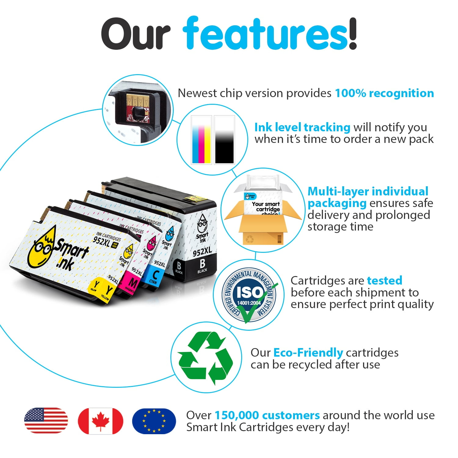 952XL. Smart Ink Cartridge Replacement for HP 952 XL (4 pack), Compatible