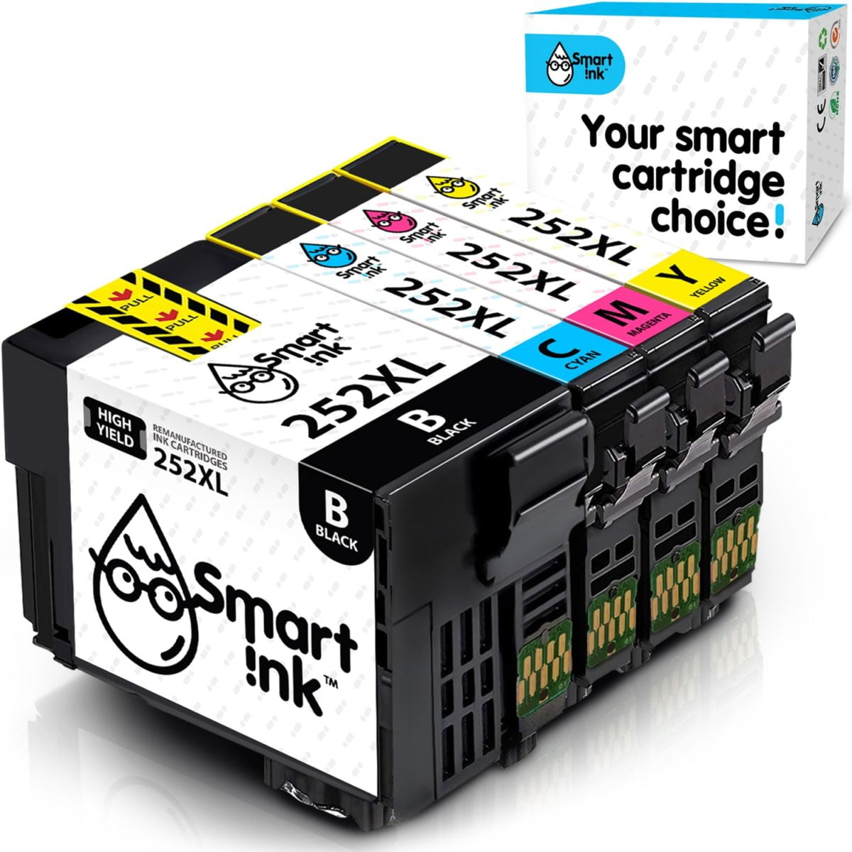 T252XL. Smart Ink Cartridge Replacement for Epson T252 XL (4 pack), Remanufactured